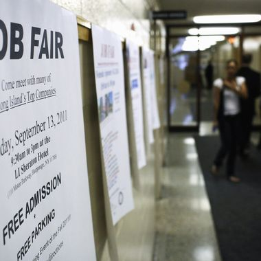 HAUPPAUGE, NY - SEPTEMBER 08: A job fair sign is viewed at a Job Fair at the Suffolk County One Stop Employment Center on September 8, 2011 in Hauppauge, New York. U.S. President Barack Obama will address Congress and the nation tonight on his plan for job growth in America. With unemployment still above 9 percent across the nation, job growth has become the center piece to the administration.  (Photo by Spencer Platt/Getty Images)
