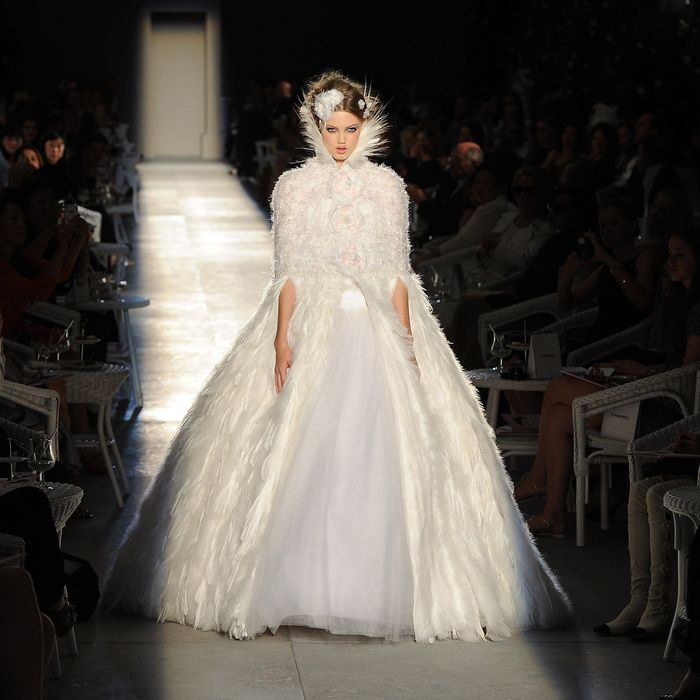 Lindsey Wixson closes Chanel's fall 2012 couture show.