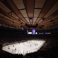 he New Jersey Devils play the New York Rangers in Game Two of the Eastern Conference Final during the 2012 NHL Stanley Cup Playoffs at Madison Square Garden on May 16, 2012 in New York City.