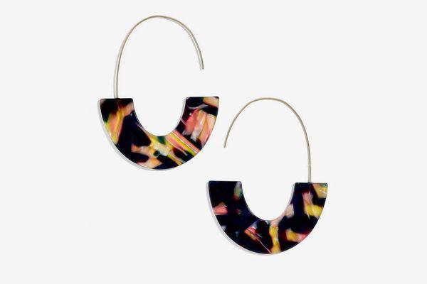 Bauble Bar Faidra Thin Drop Acrylic Oval Hoop Earrings