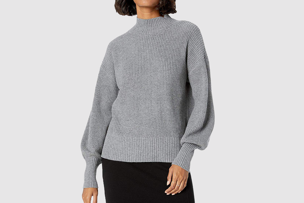 The Drop Women's Gwen Long Sleeve Mock Neck Ribbed Sweater