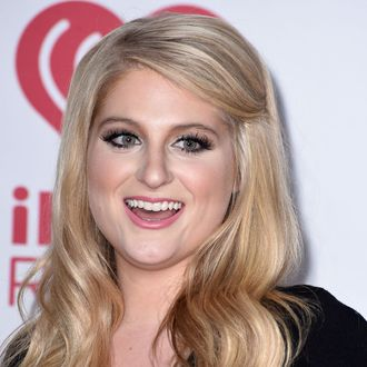 LAS VEGAS, NV - SEPTEMBER 20: Meghan Trainor poses in the 2014 iHeartRadio Music Festival - Night 2 - Press Room at MGM Grand Garden Arena on September 20, 2014 in Las Vegas, Nevada. (Photo by Steve Granitz/WireImage)