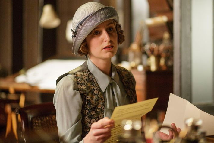 Downton AbbeyPart Seven - Sunday,  February 14, 2016 at 9pm ET on MASTERPIECE on PBS A car race gives Mary flashbacks. Mrs. Patmore opens for business. Mrs. Hughes tricks Carson. Things get serious for Edith. Robert gets a surprise gift. Shown: Laura Carmichael as Lady Edith(C) Nick Briggs/Carnival Film & Television Limited 2015 for MASTERPIECE This image may be used only in the direct promotion of MASTERPIECE CLASSIC. No other rights are granted. All rights are reserved. Editorial use only. USE ON THIRD PARTY SITES SUCH AS FACEBOOK AND TWITTER IS NOT ALLOWED.