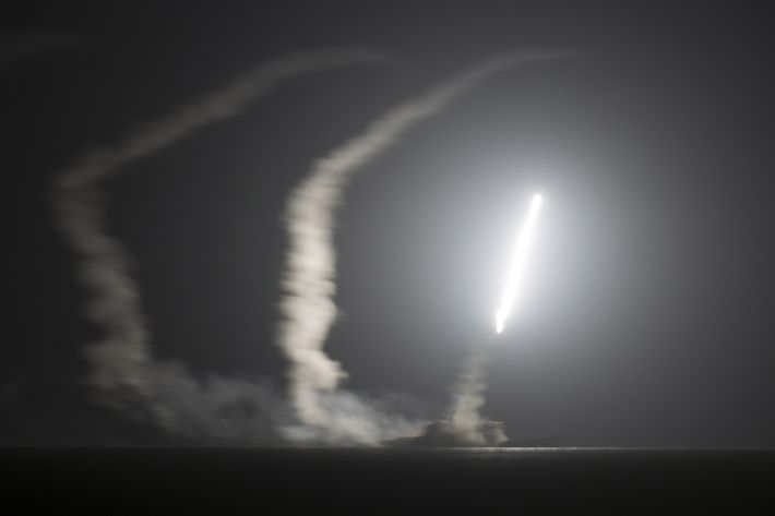 In this handout image provided by the U.S. Navy, The guided-missile cruiser USS Philippine Sea (CG 58) launches a Tomahawk cruise missile on September 23, 2014 in the Arabian Gulf.