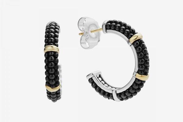 Black Caviar Hoop Earrings