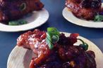Why, yes those are gluten-free Cherry Pepsi–braised BBQ wings.