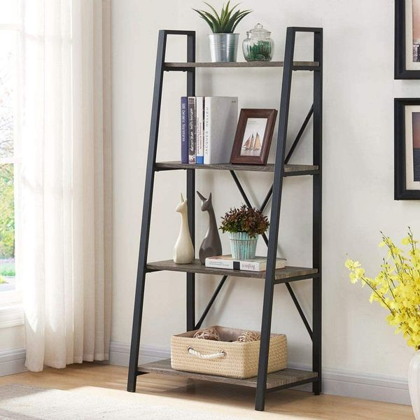 BON AUGURE Ladder Shelf 4 Tier Bookshelf and Bookcase