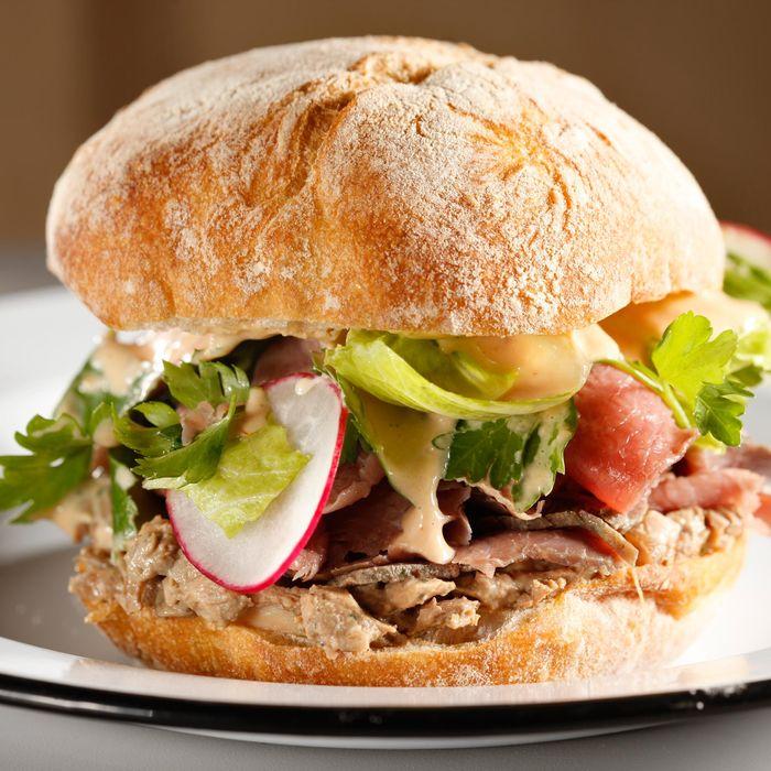 The Sixth: roast beef, chopped liver, herb salad, radish, and comeback sauce on a Balthazar ciabatta roll.