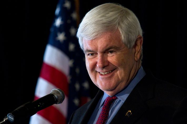 GREENVILLE, SC - DECEMBER 8:  U.S. Republican presidential candidate Newt Gingrich leads a forum with South Carolina business leaders at The Global Trading Consortium on December 8, 2011 in Greenville, South Carolina. Gingrich has recently made a sudden surge in the polls.  (Photo by John W. Adkisson/Getty Images)