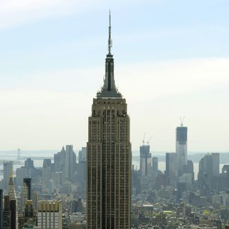 A view of the Empire State Building and One World Trade Center (R-rear) as seen from the Top of the Rock Observation Deck at Rockefeller Center April 30, 2012.
