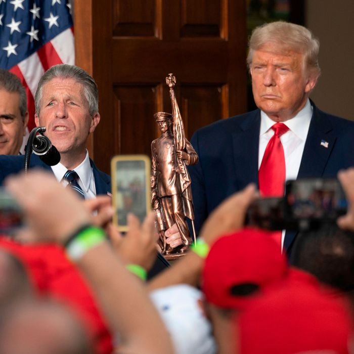Police Benevolent Association President Patrick J. Lynch (left) and President Donald Trump (right).