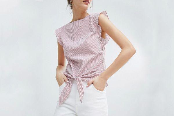 Oasis Tie Front Sleeveless Blouse