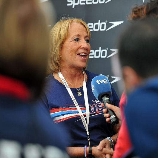 Ike Lochte, mother of USA swimmer Ryan Lochte talks to the media on July 31, 2012 in London, England.  Parents and friends of Olympic swimmers attend a Speedo media event, 'Speedo Meet the Friends and Family of London 2012 Olympic Swimmers.'