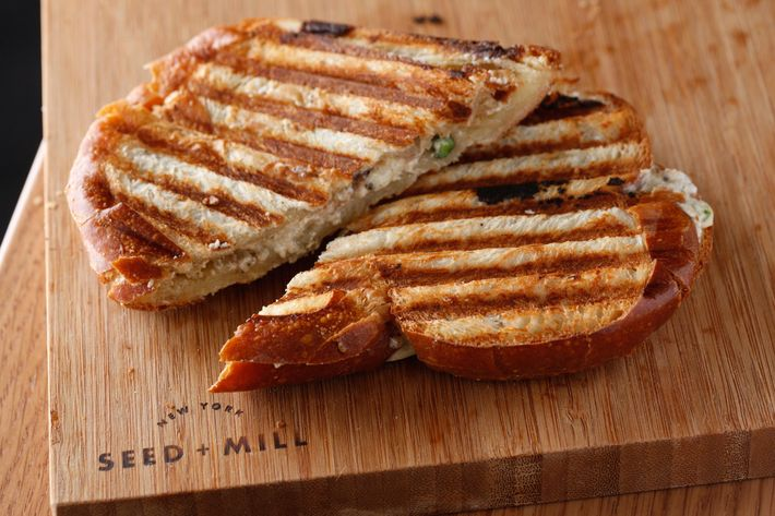 Chalva sandwich: halva between two slices of buttered challah.