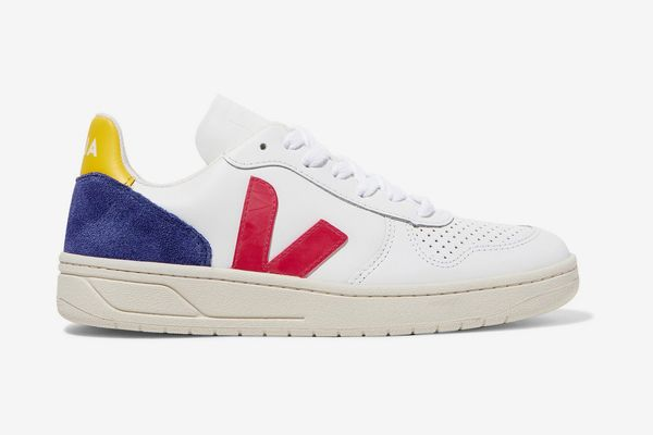 Veja + Net Sustain V-10 Suede and Rubber-Trimmed Leather Sneaker