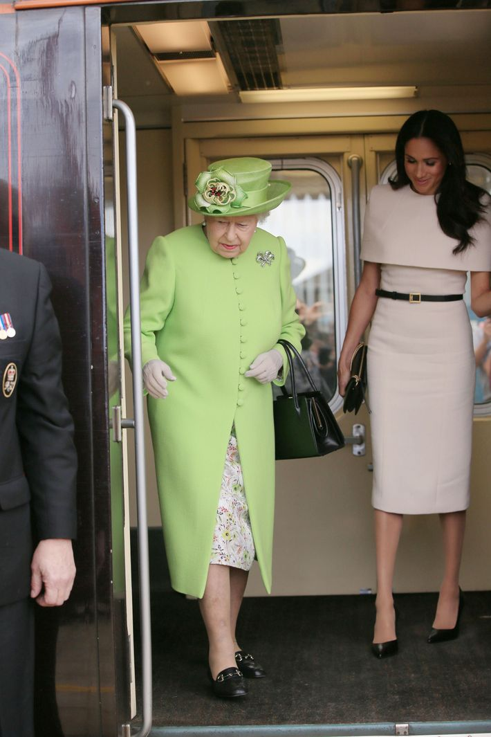 Meghan Markle and Queen Elizabeth on the train.