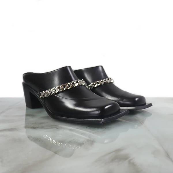 Sunni Sunni Lonel heeled square toe mule with chainlink