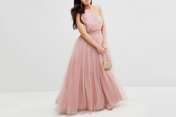 ASOS CURVE PREMIUM Tulle One Shoulder Maxi Dress