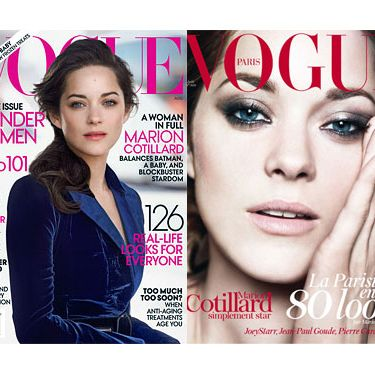 American Vogue's cover (left) and French Vogue's cover (right).
