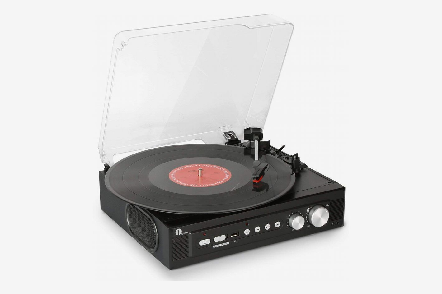 1byone Belt-Drive 3-Speed Mini Stereo Turntable with Built in Speakers