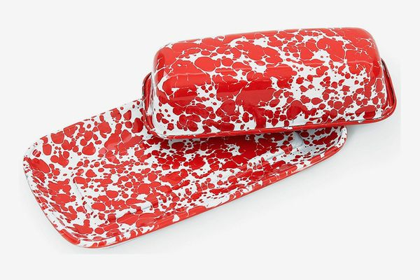 Crow Canyon Home Enamelware Covered Butter Dish, Red/White Splatter
