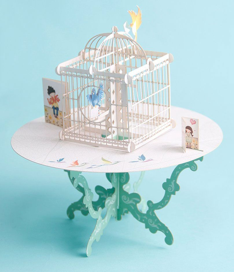 Paper Spiritz 3D Pop-up Birdcage Greeting Card