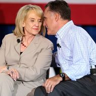 BASALT, CO - AUGUST 02:  Republican presidential candidate and former Massachusetts Gov. Mitt Romney (R) talks with Arizona Governor Jan Brewer (L) during a campaign event with Republican Governors at Basalt Public High School on August 2, 2012 in Basalt, Colorado. One day after returning from a six-day overseas trip to England, Israel and Poland, Mitt Romney is campaigning in Colorado before heading to Nevada.  (Photo by Justin Sullivan/Getty Images)