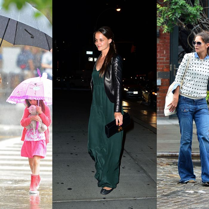 Katie Holmes, out and about rain or shine.
