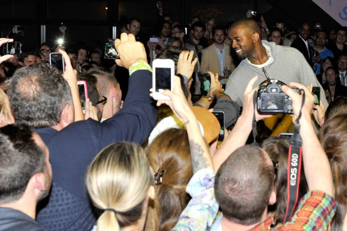 Kanye with fans.