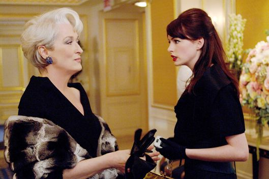Fashion magazine editor Miranda Priestly (Meryl Streep) never fails to surprise her assistant, Andy Sachs (Anne Hathaway).