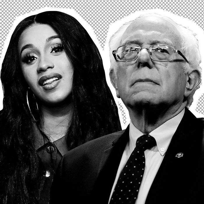 Cardi B, Bernie Sanders.