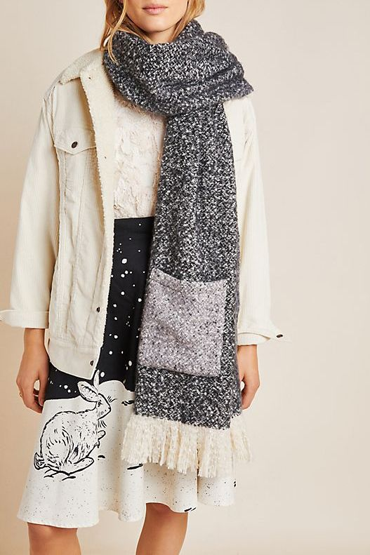 Anthropologie Pocketed Boucle Scarf