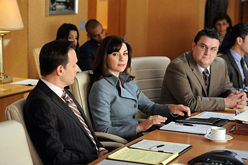 """""""The Death Zone""""--When Alicia's (Julianna Margulies) case is retried in British court via satellite, she and Will (Josh Charles, left) enlist barrister Timothy Ash Brannon (Simon Delaney, right) as their co-council, on THE GOOD WIFE, Sunday, Oct. 2 (9:00-10:00 PM, ET/PT) on the CBS Television Network. Photo: David M. Russell/CBS ?2011 CBS Broadcasting Inc. All Rights Reserved."""
