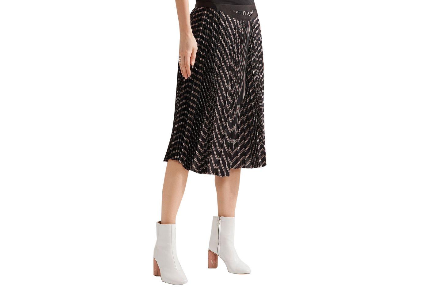 Sacai Pleated Striped Twill Wrap Skirt