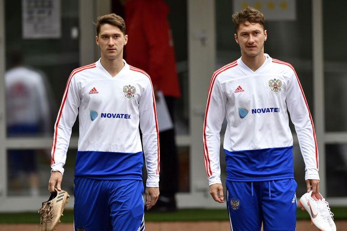 Anton and Aleksey Miranchuk at practice.