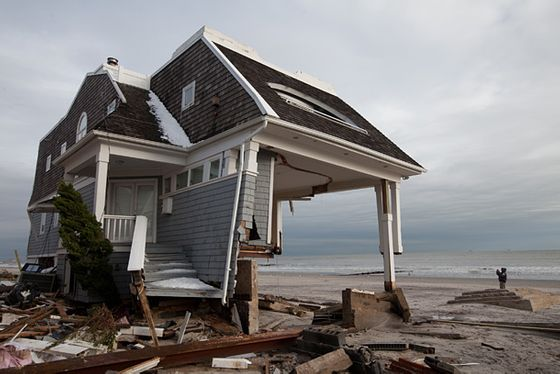 On his way to the Jersey Shore, photojournalist Allan Tannenbaum discovered this gutted home barely standing.