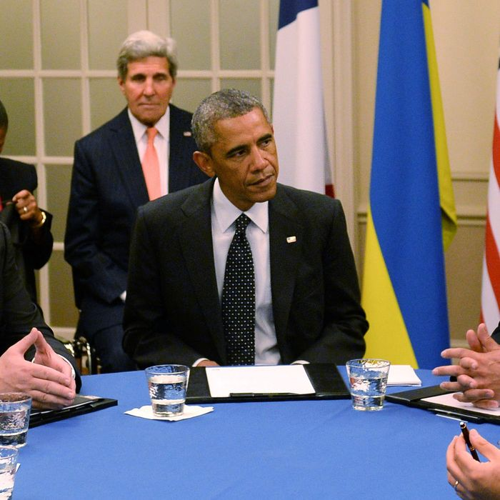 NEWPORT, WALES - SEPTEMBER 04: British Prime Minister David Cameron, US President Barack Obama and Ukrainian President Petro Poroshenko attend the NATO Summit on September 4, 2014 in Newport, Wales. Leaders and senior ministers from around 60 countries are meeting at what has been billed as the most important Nato summit since the end of the cold war with the situation in Ukraine and the threat of ISIS likely to be top of the agenda. (Photo by Stefan Rousseau - WPA Pool /Getty Images)