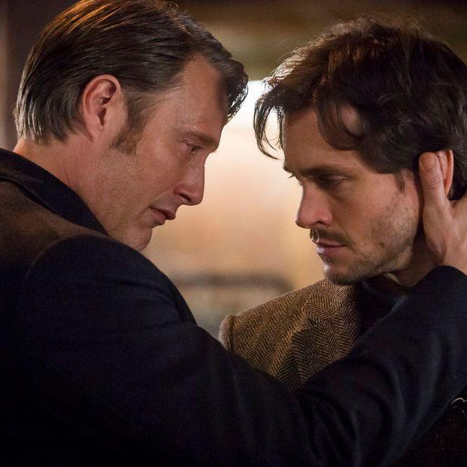 Mads Mikkelsen as Hannibal Lecter and Hugh Dancy as Will Graham.