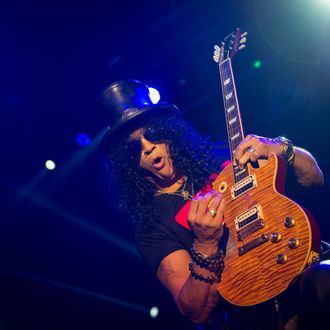 Hard rock guitarist Slash performs on stage during his concert in Ljubljana, on February 8, 2013.