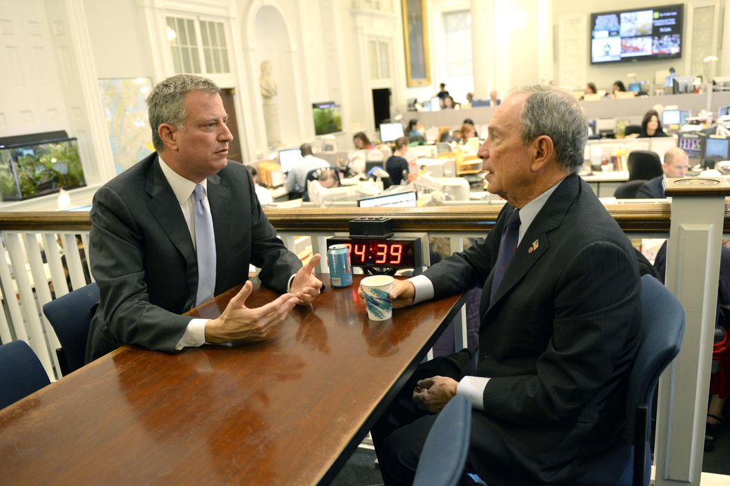 New York City Mayor Michael Bloomberg meets with Mayor-Elect Bill de Blasio on November 6, 2013 at City Hall, the morning after De Blasio was elected New York Citys first Democratic mayor in two decades. De Blasio won a stunning landslide victory of 73.3 percent of votes cast compared to 24.3 percent for his Republican rival Joe Lhota, according to results from 99 percent of polling stations. But of the 4.6 million registered voters in New York only 1.02 million actually cast their vote, based on those results.