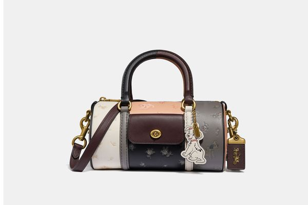 Disney X Coach Barrel Bag With Dalmatian Prairie Floral Print