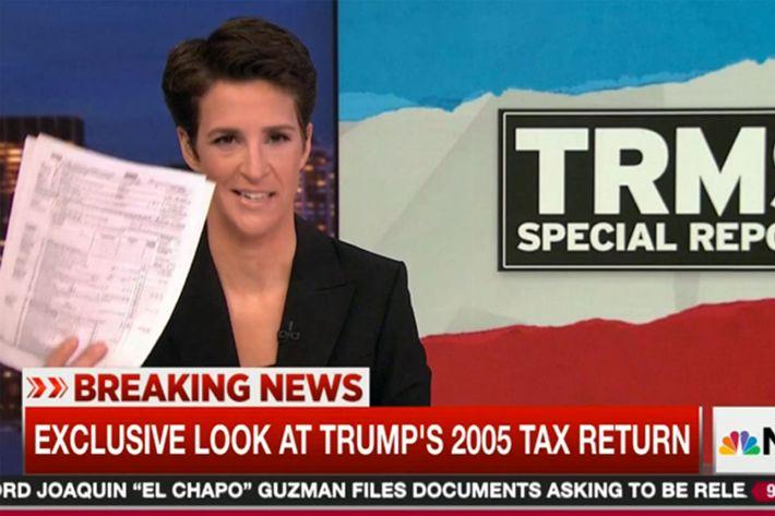 Trump 2005 Tax Return Ratings Boon For MSNBC's Rachel Maddow