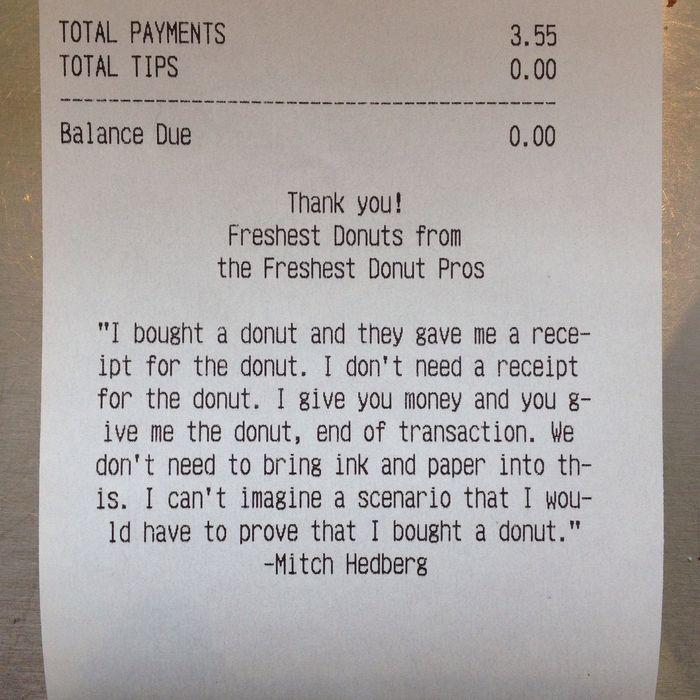 employee prints classic mitch hedberg doughnut shop receipt routine