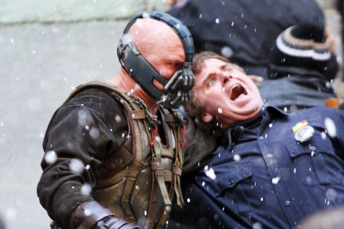 Christian Bale and Tom Hardy on the set of 'Batman:The Dark Knight Rises' in NYC. <P> Pictured: Tom Hardy <P> <B>Ref: SPL332621  051111  </B><BR/> Picture by: Richie Buxo / Splash News<BR/> </P><P> <B>Splash News and Pictures</B><BR/> Los Angeles:310-821-2666<BR/> New York:212-619-2666<BR/> London:870-934-2666<BR/> photodesk@splashnews.com<BR/> </P>