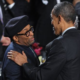 Director Spike Lee greets US President Barack Obama after Obama spoke at the 20th anniversary National Action Network Gala April 6, 2011 at a hotel in New York City. The National Action Network is a coalition of civil rights groups headed by Reverend Al Sharpton. AFP PHOTO/Mandel NGAN (Photo credit should read MANDEL NGAN/AFP/Getty Images)