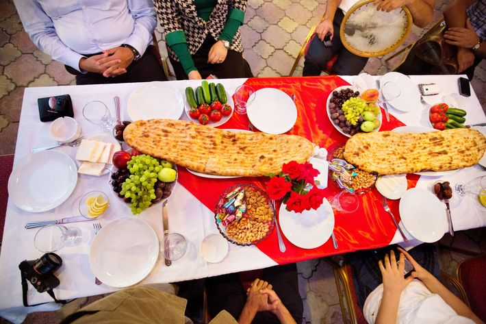 An iftar feast served after a day of Ramadan fasting.