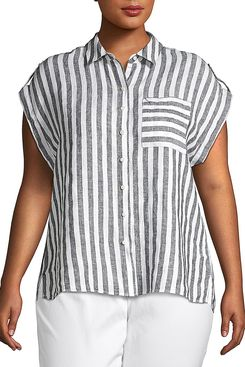 Lord & Taylor Plus Tabbed Short-Sleeve Striped Linen Pocket Shirt