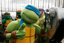 NEW YORK - APRIL 23:  Teenage Mutant Ninja Turtle Leonardo during the lighting of the Empire State Building green to celebrate their 25th Anniversary on April 23, 2009 in New York City.  (Photo by Amy Sussman/Getty Images) *** Local Caption *** Leonardo