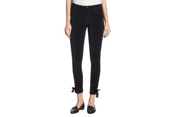 Joe's Icon Lace-Up Velvet Skinny Ankle Jeans