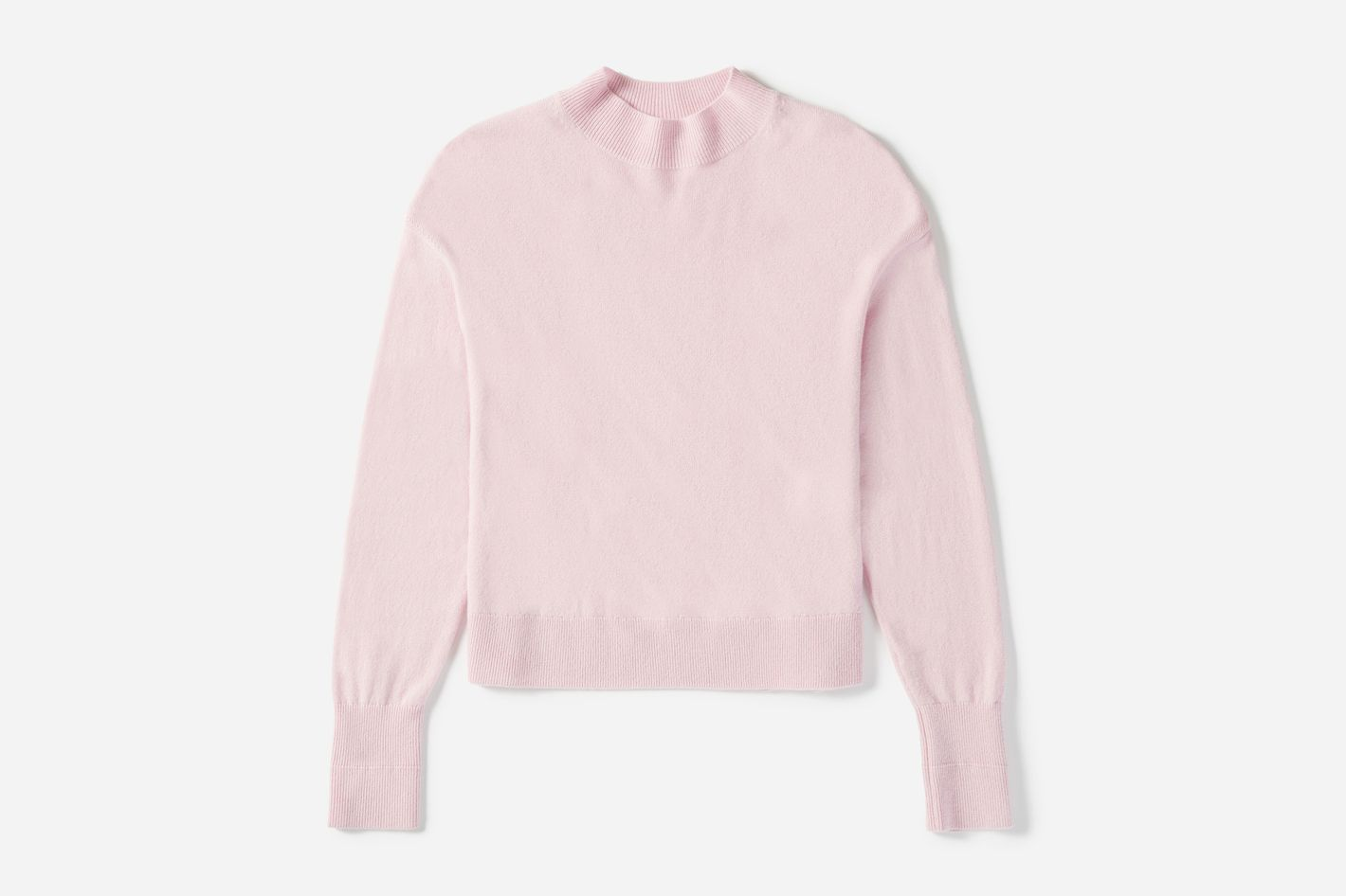 Cashmere Crop Mockneck in Soft Pink